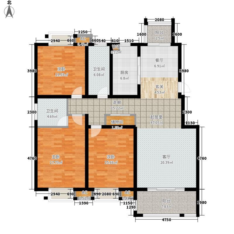仁和景苑143.20㎡一期5#E户型3室2厅2卫1厨