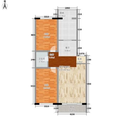 天鸿嘉园2室1厅1卫1厨121.00㎡户型图