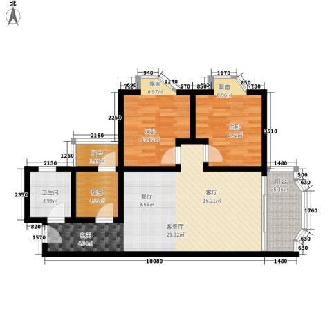 华景新城翠景园2室1厅1卫1厨75.00㎡户型图