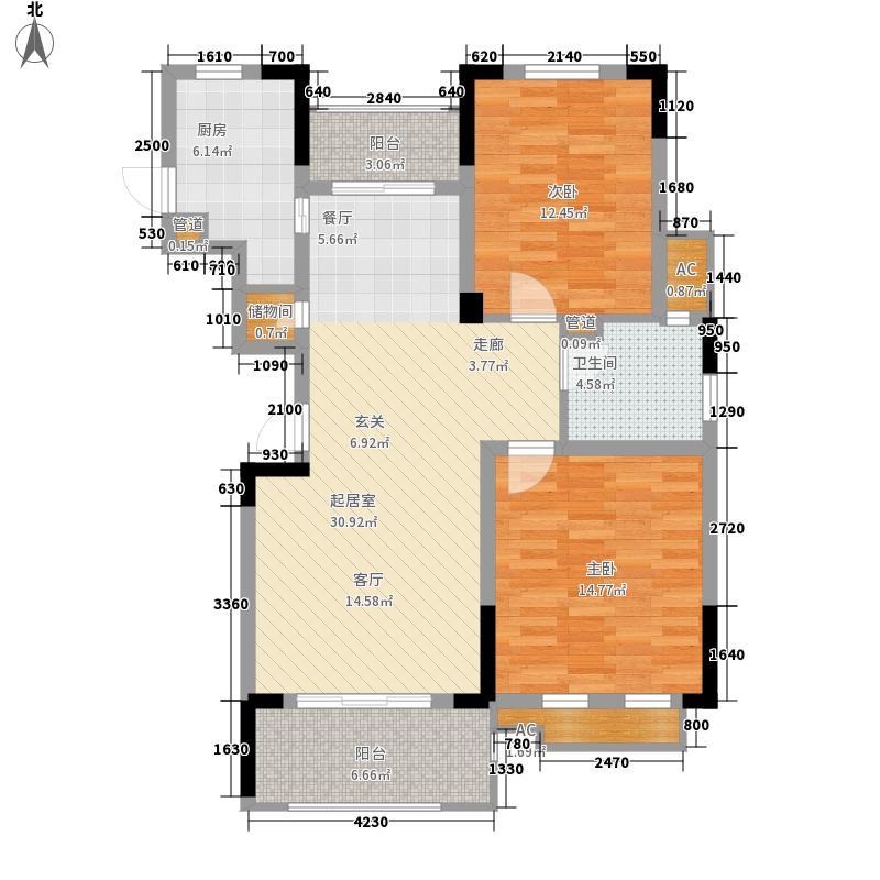 威尼斯水城93.00㎡十四街区小高层标准层2D户型2室2厅1卫1厨