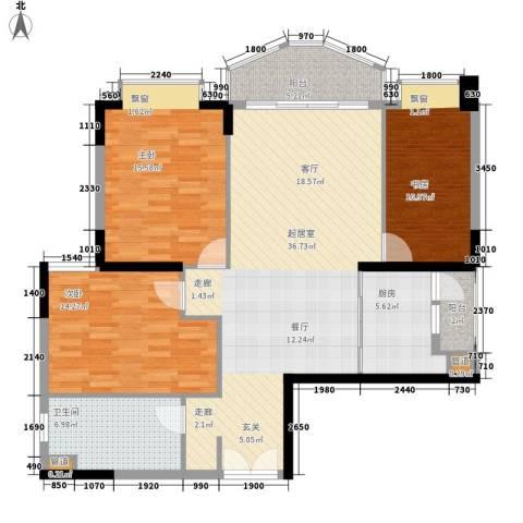 汇景新城明月清泉别墅3室0厅1卫1厨109.00㎡户型图