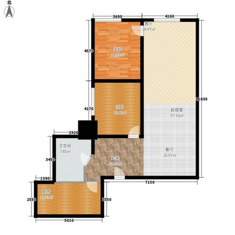 恒安大厦恒福轩2室0厅1卫1厨116.00㎡户型图