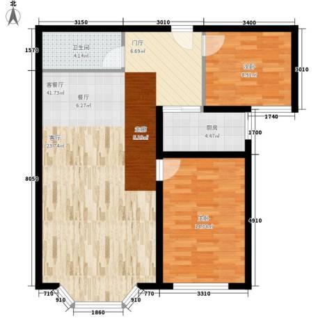 水韵名城2室1厅1卫1厨73.58㎡户型图