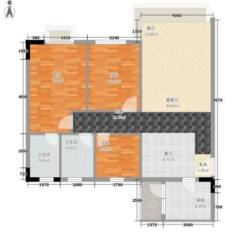 逸安阁3室1厅2卫1厨110.00㎡户型图