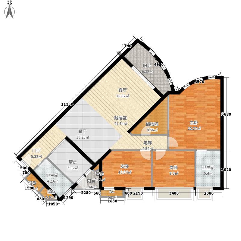 珠江南景园129.12㎡珠江南景园户型图4房2厅户型图4室2厅2卫1厨户型4室2厅2卫1厨