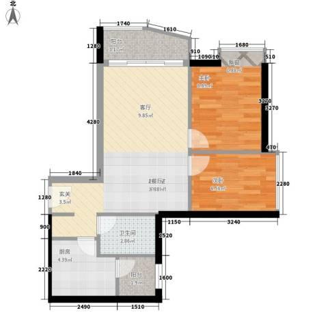 华景新城四期2室0厅1卫1厨80.00㎡户型图