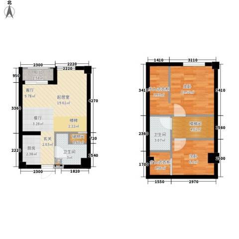 悦泰街里项目2室0厅2卫0厨79.00㎡户型图