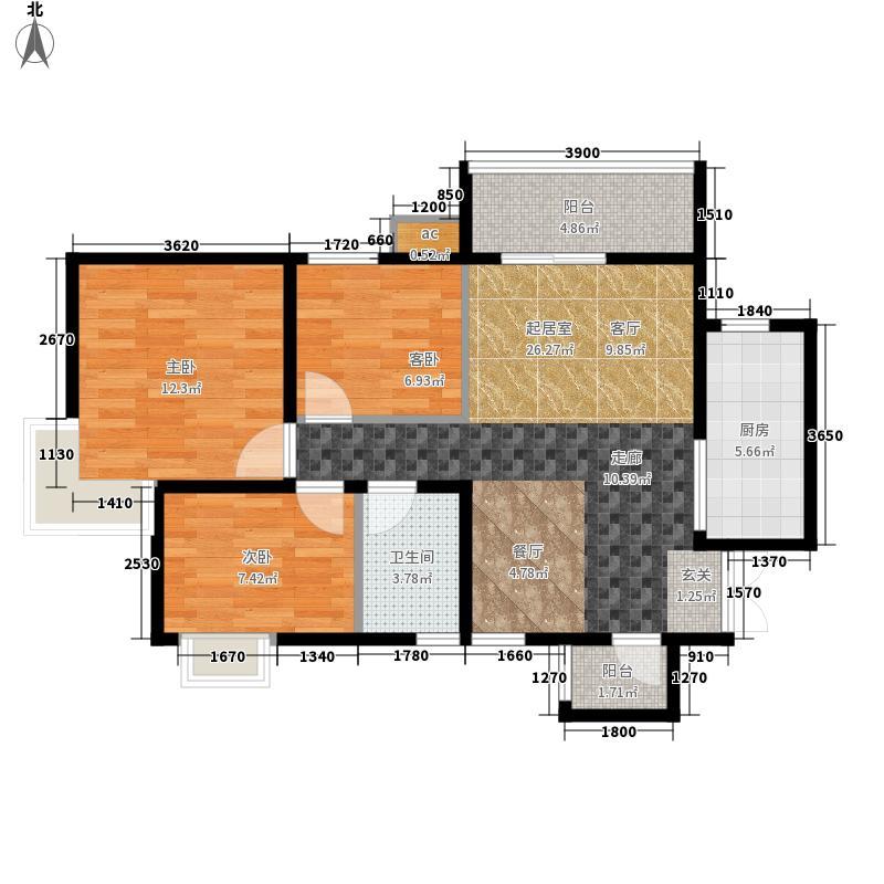 宏府龙翔长安户型图一期C2户型 3室2厅1卫1厨