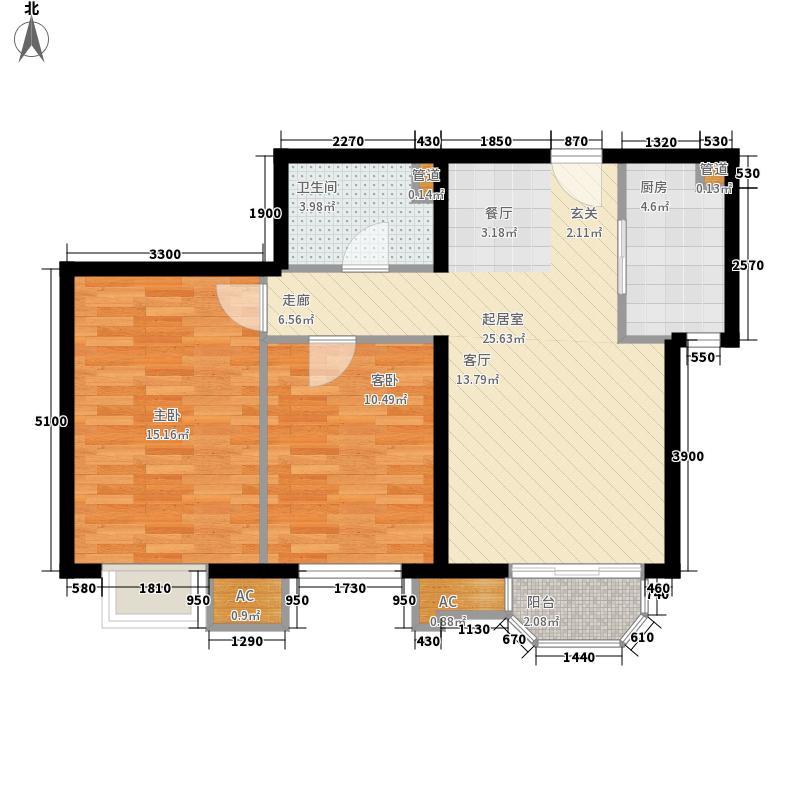 美林海岸花园海天苑两房二厅户型2室2厅1卫1厨