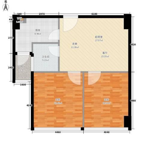 香格里拉花园2室0厅1卫1厨92.00㎡户型图