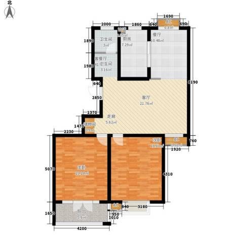 华夏太阳城2室1厅1卫1厨111.00㎡户型图