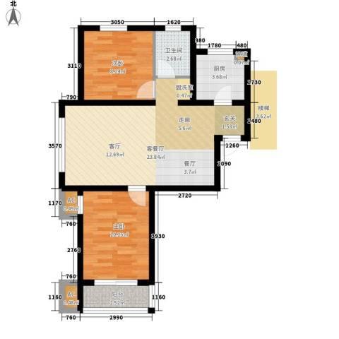 萦东温泉公寓2室1厅1卫1厨77.00㎡户型图