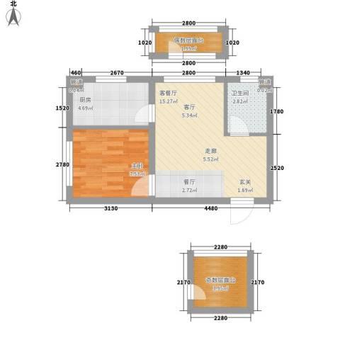 香槟蓝郡1室1厅1卫1厨43.00㎡户型图
