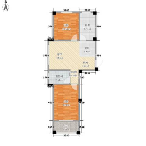 澳海澜庭2室0厅1卫1厨69.00㎡户型图