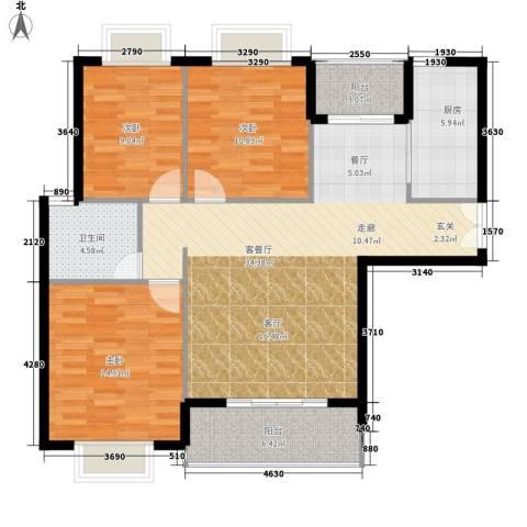 版纳一品3室1厅1卫1厨99.00㎡户型图
