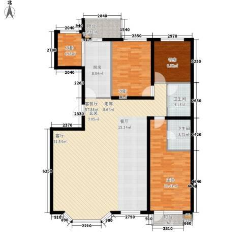 建龙水韵名城4室1厅2卫1厨166.00㎡户型图