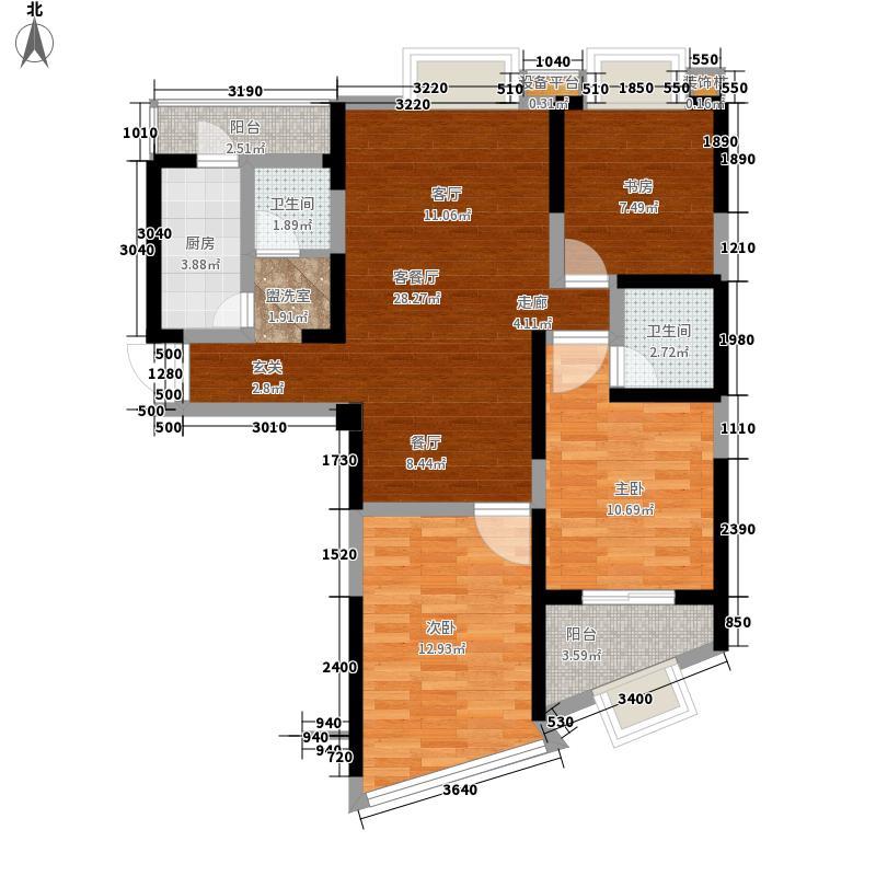 中威国际公寓82.00㎡H户型户型1室2厅1卫1厨