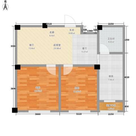 澳海澜庭2室0厅1卫1厨63.00㎡户型图