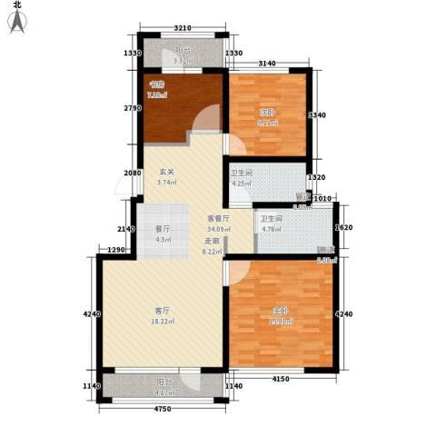 香槟蓝郡3室1厅2卫0厨91.00㎡户型图