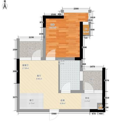 金美花园金泽台1室1厅1卫0厨45.73㎡户型图