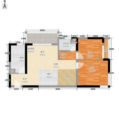 香格里拉花园2室0厅1卫1厨72.00㎡户型图