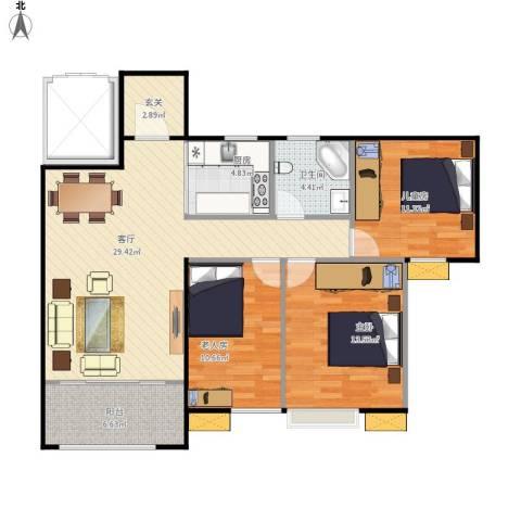 首开太湖一号3室1厅1卫1厨95.00㎡户型图