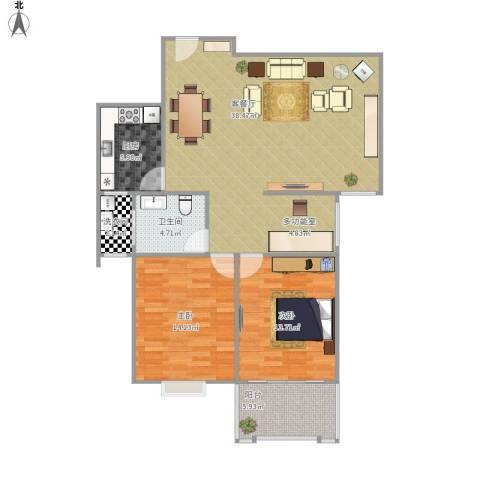 怡美家园二期2室1厅1卫1厨120.00㎡户型图
