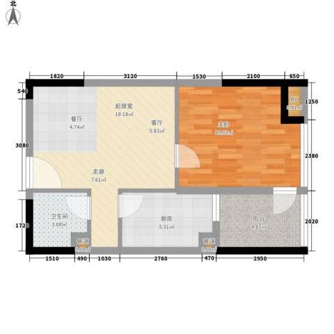 香格里拉花园1室0厅1卫1厨52.00㎡户型图