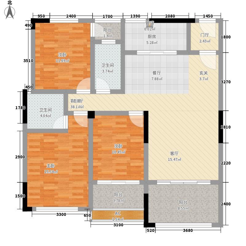 资江明珠12.50㎡3#楼C户型3室2厅2卫1厨