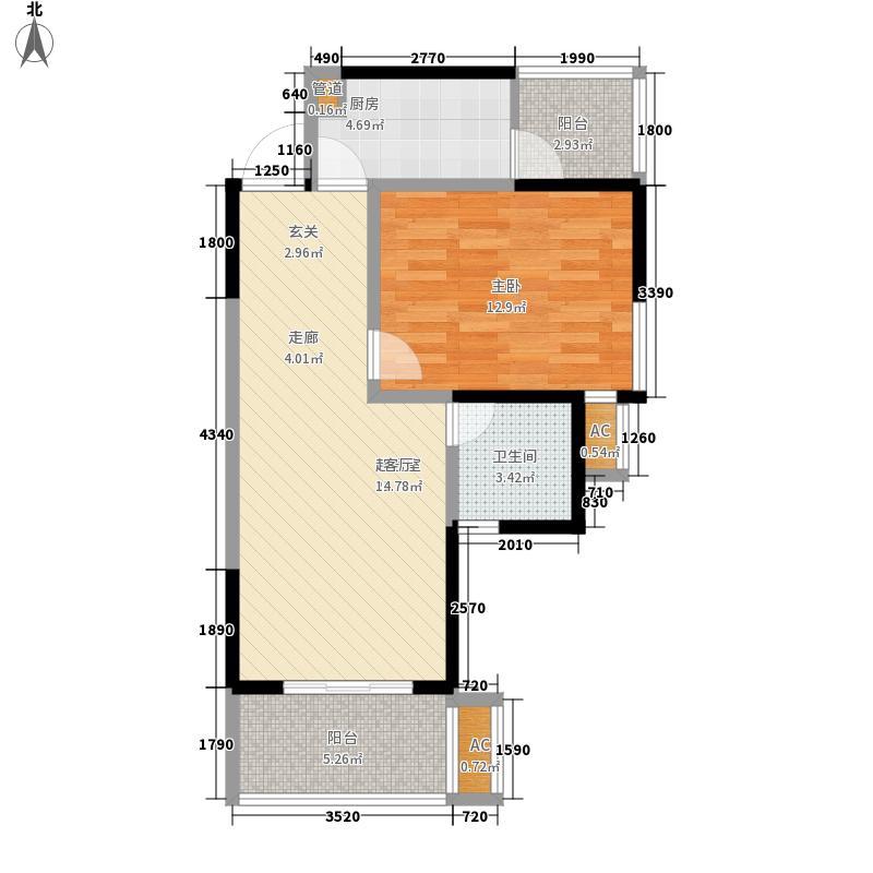 蜀光新城66.07㎡二期3单元-4户型1室1厅1卫1厨