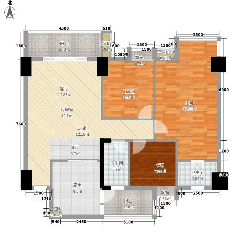 世博嘉园户型图2座02单位 3室2厅2卫1厨