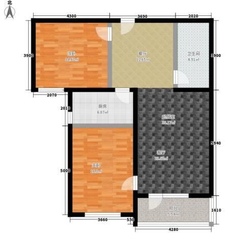 启城2室0厅1卫1厨97.00㎡户型图