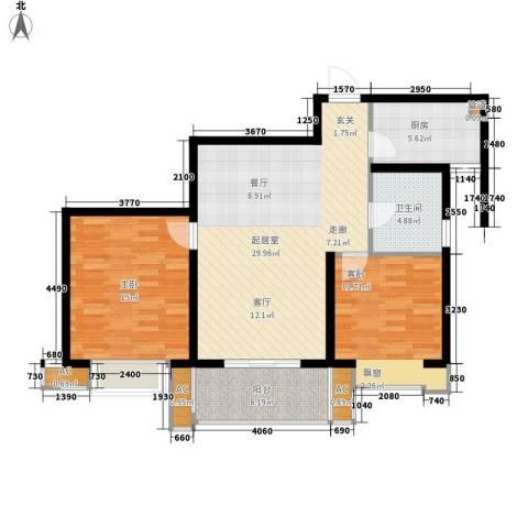 栖霞瑜憬湾2室0厅1卫1厨86.00㎡户型图