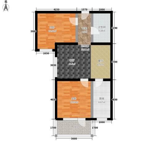 启城2室0厅1卫1厨76.00㎡户型图
