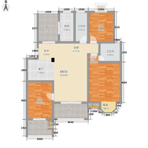 太湖富力都3室0厅2卫1厨123.00㎡户型图