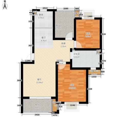 太湖富力都2室0厅1卫1厨89.00㎡户型图