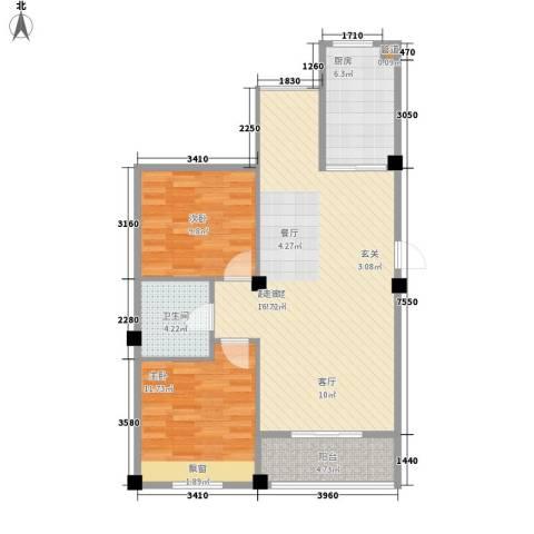 澳海澜庭2室0厅1卫1厨78.00㎡户型图