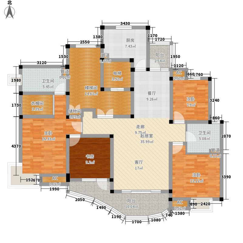金色航城160.00㎡2(水岸豪庭)11号楼标准层平面图户型4室2厅2卫1厨