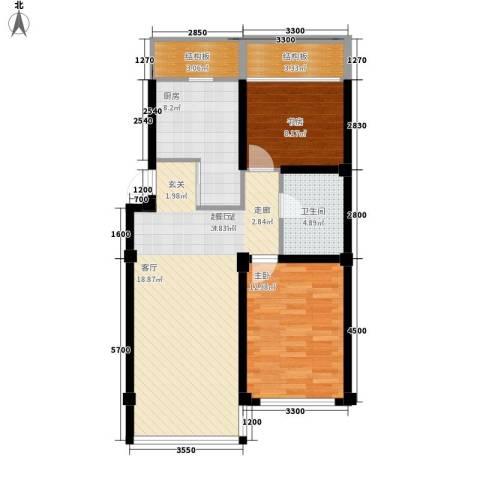 惠和经典2室0厅1卫1厨71.67㎡户型图