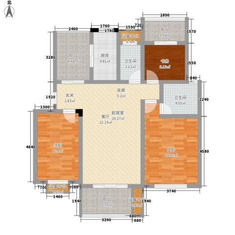 太湖富力都3室0厅2卫1厨110.00㎡户型图