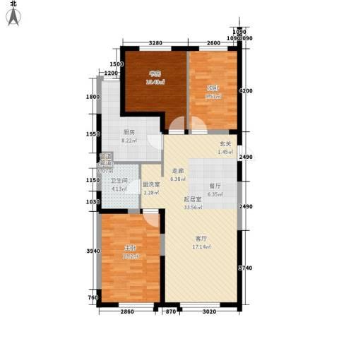 上东城市之光3室0厅1卫1厨122.00㎡户型图