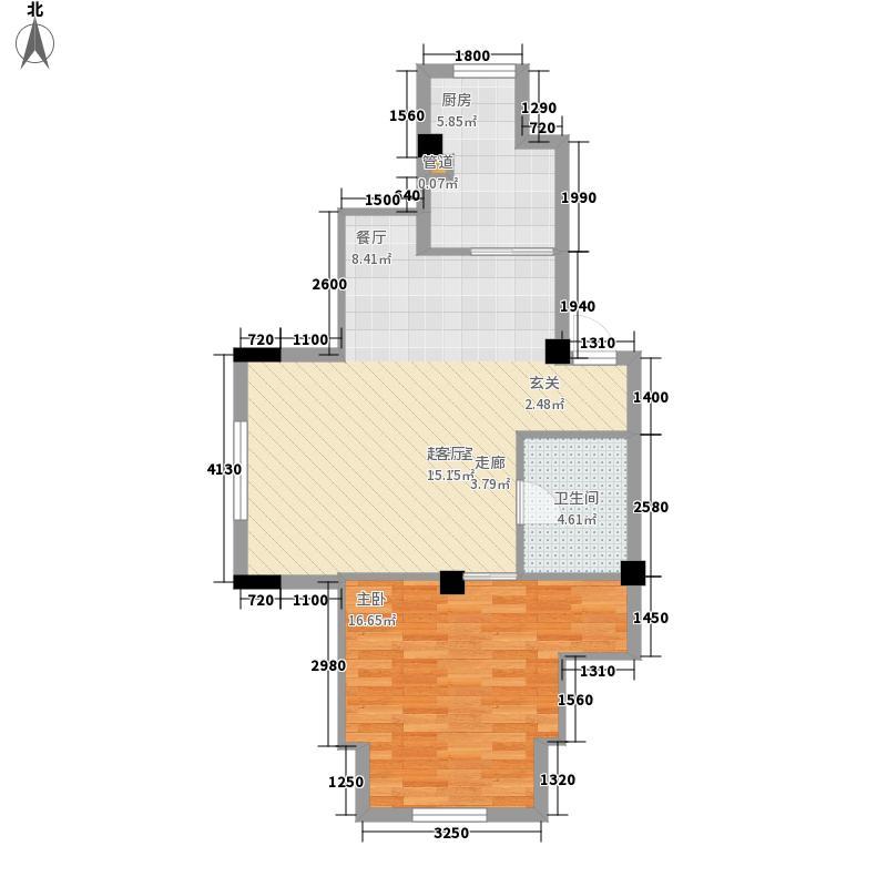 澳海澜庭65.00㎡澳海澜庭户型图65平米带阁楼户型图1室2厅1卫户型1室2厅1卫