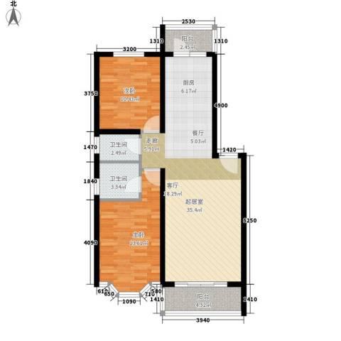 海富山水文园2室0厅2卫0厨82.00㎡户型图