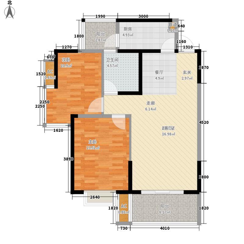 蜀光新城三单元5户型2室2厅1卫1厨