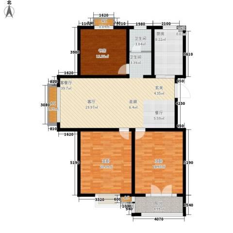 华夏太阳城3室1厅1卫1厨125.00㎡户型图