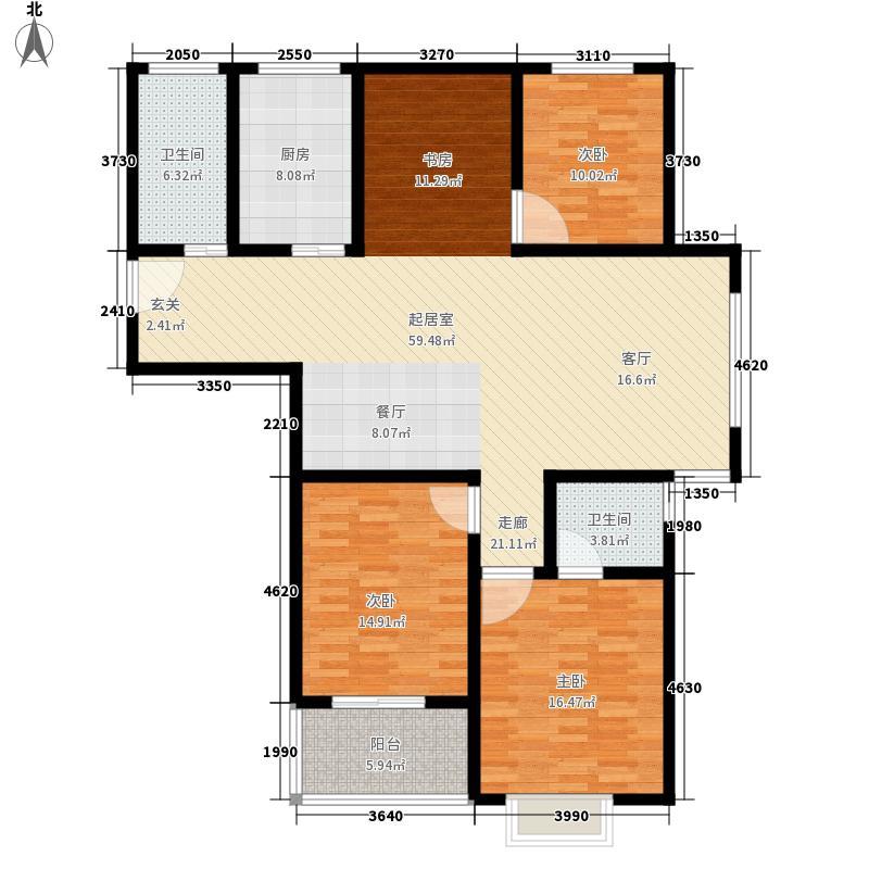 南甸苑141.00㎡F型户型4室2厅2卫1厨