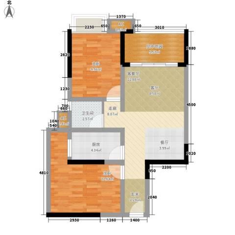 锦林俊域2室1厅1卫1厨73.00㎡户型图