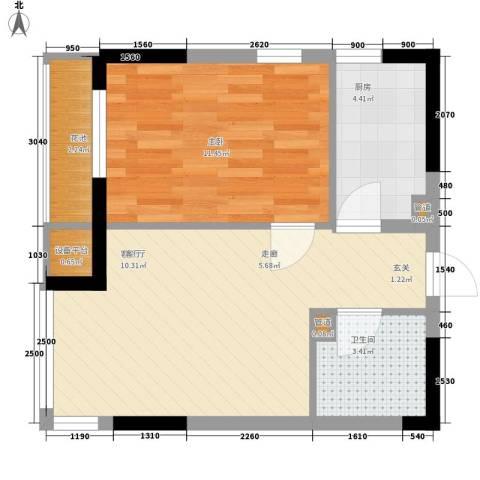 LOHAS上院-7号公寓1室1厅1卫1厨53.00㎡户型图