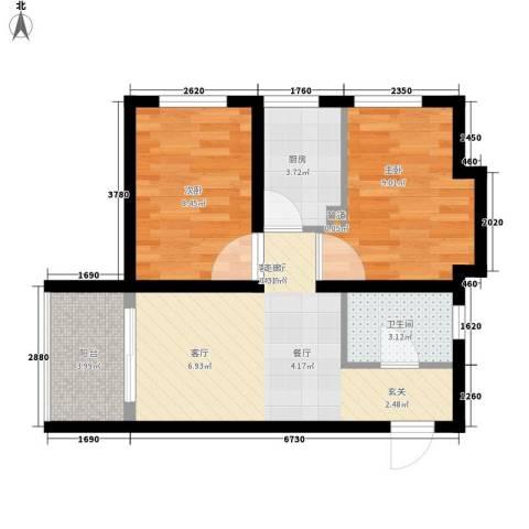 罗马公元2室1厅1卫1厨46.00㎡户型图