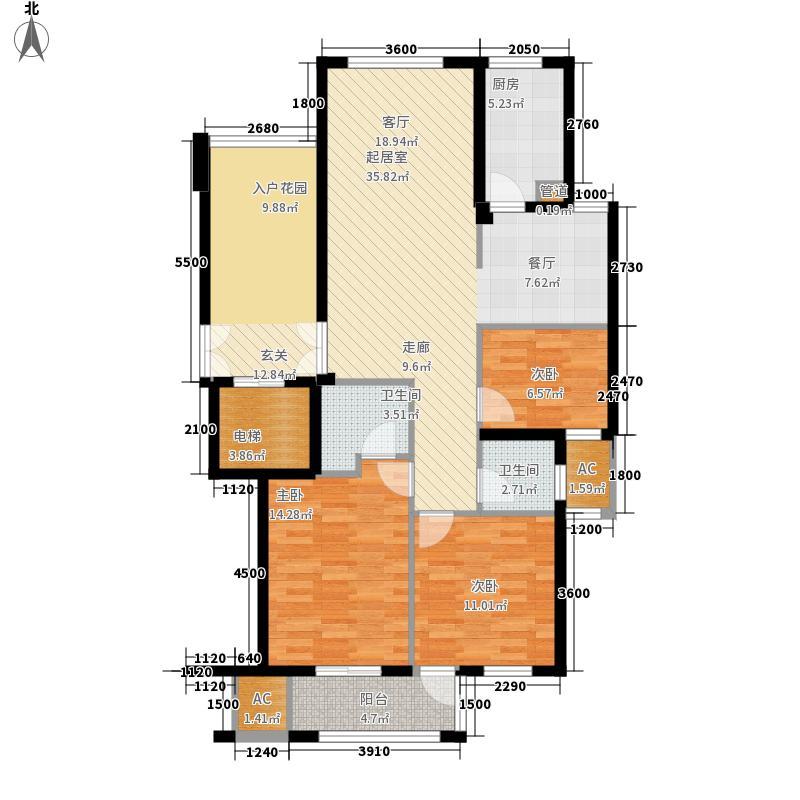 汇宇和庭90.00㎡H户型3室1厅2卫